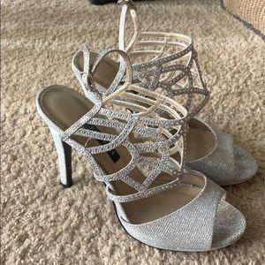 Silver diamond shoes